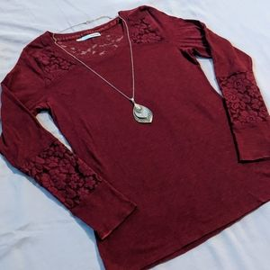 3/$20 Maurices Long Sleeve Lace Trim Tee - Red
